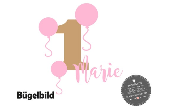Bügelbild Geburtstag Luftballons mit Name und Zahl zum Geburtstag