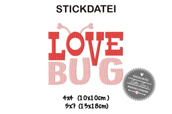 Embroidery file WordArt Love Bug 4x4 5x7