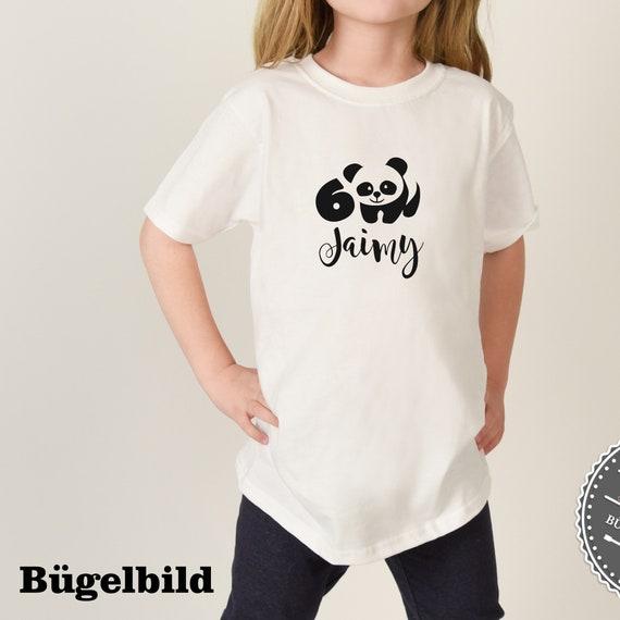 Personalisiertes Bügelbild Panda Bär zum Geburtstag Wunschname  Zahl in Glitzer, Flock, Effekt, Flex Iron On Aufbügler Birthday