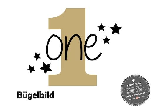 Bügelbild zum ersten Geburtstag One mit Zahl und Sterne