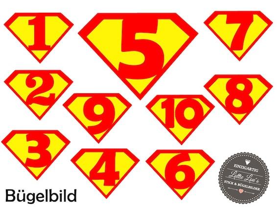 Bügelbild Geburtstags Zahl SuperheldIron On