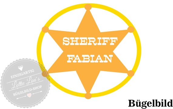 Iron on ironing image Sheriff Star with wish name & color