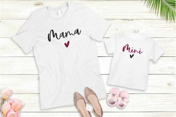 Bügelbild oder T-Shirt  Mama Mini Set auch mit Wunschnamen Statement Shirt Muttertag