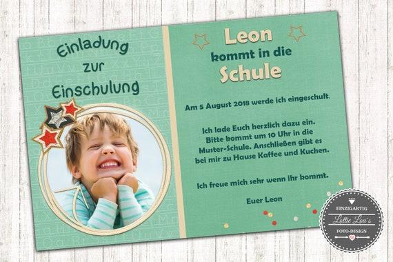 Einladungskarte zur  Einschulung personalisiert mit eigenen Text und Foto