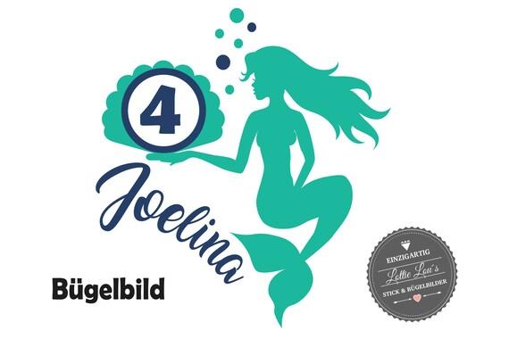 Bügelbild Meerjungfrau Mermaid  Zahl &  WunschnameIron On