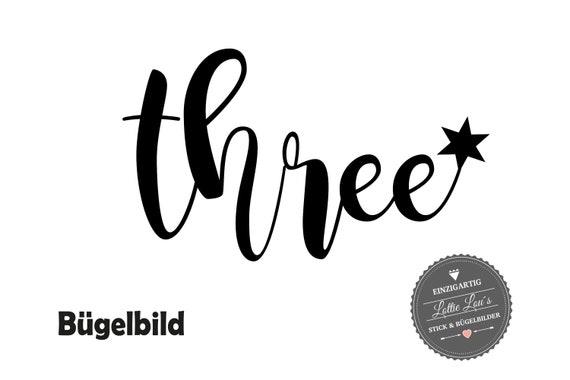 Personalisiertes Bügelbild DIY Geburtstag Birthday Drei Three  Stern Iron On Aufbügler Glitzer Flock Effekt Flex Geburtstags Shirt