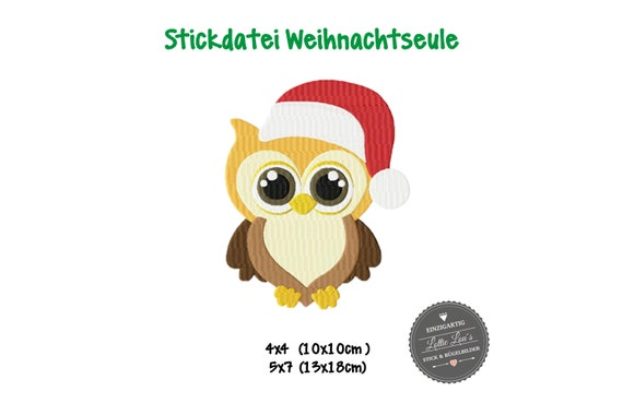 Embroidery Design Owl Chistmas X-Mas