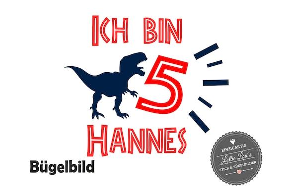 Bügelbild Dinosaurier T-Rex zum Geburtstag Birthday mit Zahl und Wunschname in Glitzer Flock Effekt Flex Aufbügler DIY