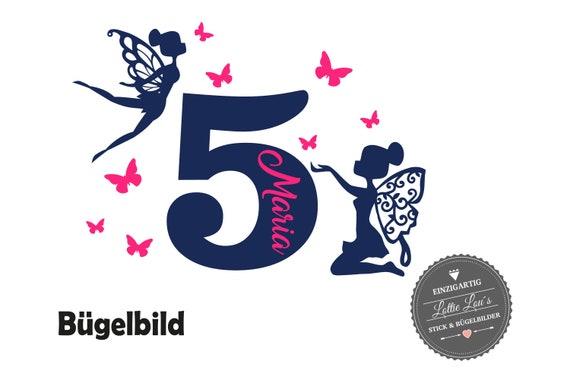 Bügelbild  Geburtstag Birthday Fee Fairy mit Wunschname und Wunschzahl in Flex, Flock, Glitzer, Effekt Aufbügler