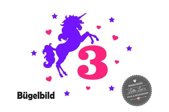 Bügelbild DIY Individuell Custom Geburtstag Birthday Einhorn Unicorn Pferd  Zahl Name Glitzer Flock Effect Heat Transfer Aufbügler Iron On