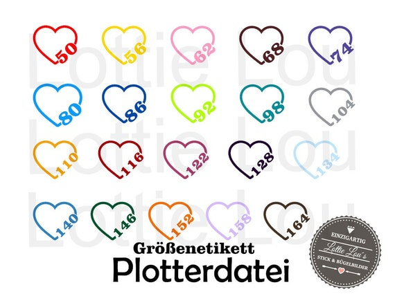 Plotter SVG size label label Heart Kids