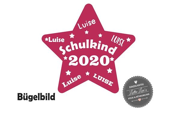 Bügelbild Schulkind 2020 Stern mit Name zur Einschulung