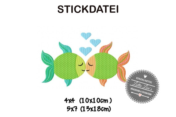 Stick file fish fish love love 4x4 5x7