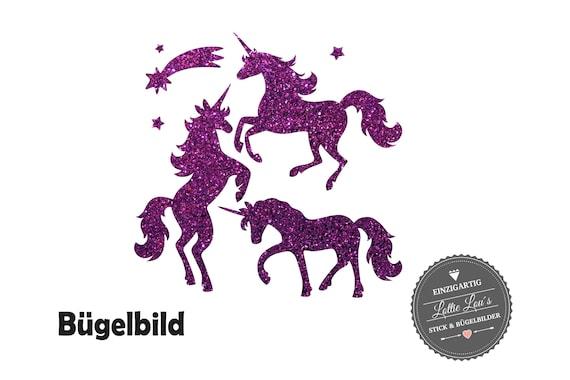Bügelbild Aufbügler Set Einhorn Unicorn Sternschnuppe Sterne