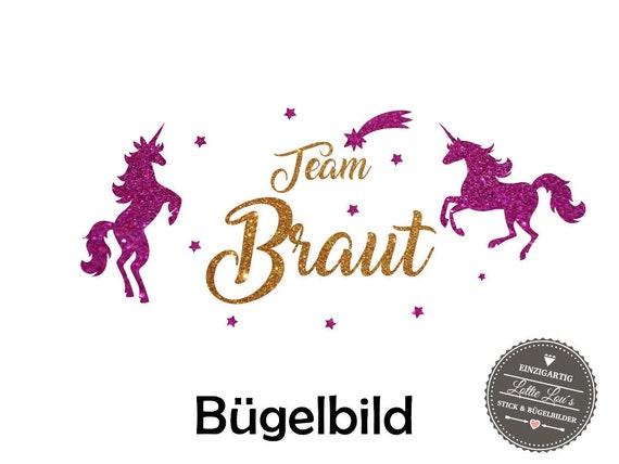Iron On Bügelbild Team Braut JGA Einhorn XXL