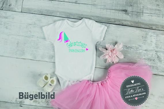 Bügelbild DIY Geburtstag Birthday Princess Iron On mit Zahl Name Aufbügler Glitzer Flock Effekt Flex Individuell Geburtstags Shirt