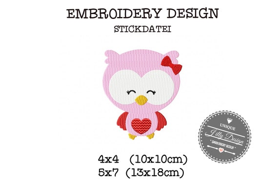 Embroidery File Owl Heart love love 4x4 5x7