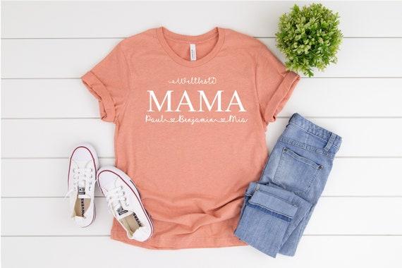 Bügelbild  Weltbeste Mama mit Wunschnamen Statement Shirt