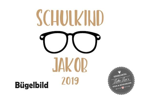 Bügelbild Schulkind 2019 Brille mit Name zur Einschulung