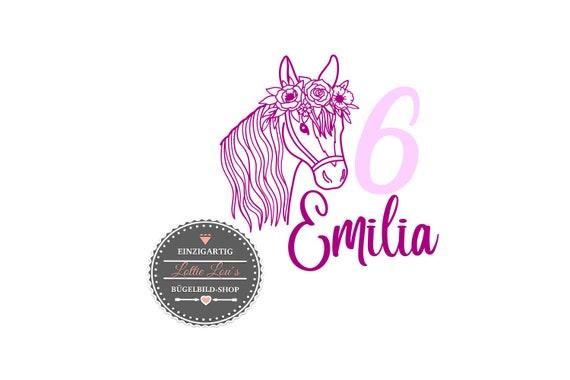 Bügelbild Geburtstag Pferd mit Zahl und Name