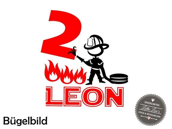 Bügelbild Geburtstags Feuerwehrmann ZahlIron On