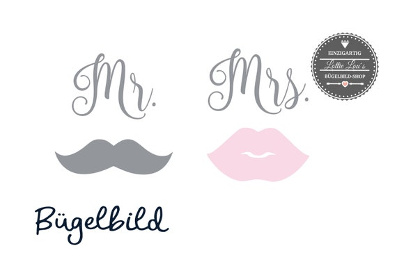 Iron On Ironing Picture Set Mrs & Mr. with kiss mouth and beard in desired font also for mask