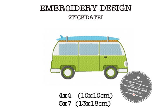 Embroidery Design File VW Van  Surfing Surfboard Beach 4x4 5x7