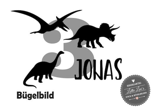 Bügelbild Geburtstag Dinosaurier mit Name und Zahl