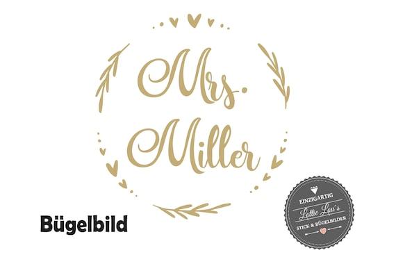 Bügelbild JGA  Blütenkranz Herz Mrs. Wunschname Braut Bride Junggesellinenabschied Iron-On