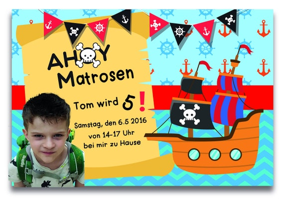Invitation Children's Birthday pirate with photo