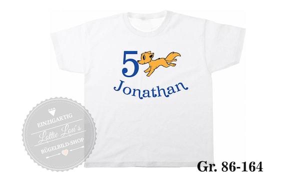 Iron On T-Shirt Geburtstagsshirt Fuchs Wunschname & Zahl