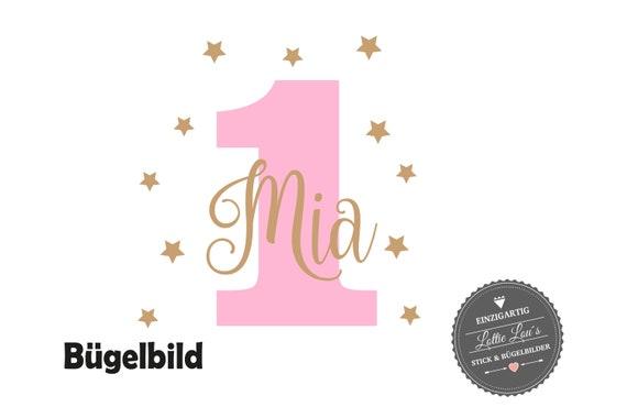 Bügelbild *Geburtstag* mit  Zahl und Wunschname
