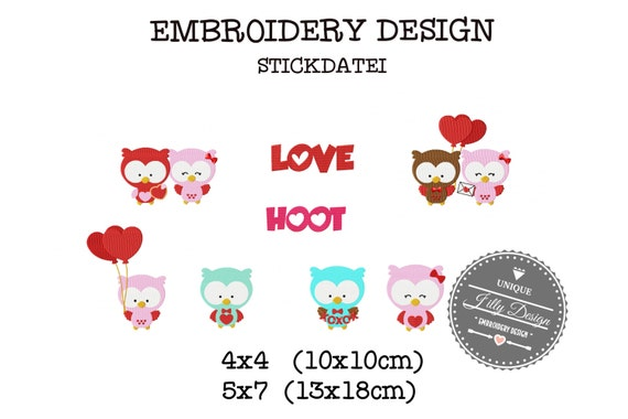 Embroidery Design Stickdatei File Valentines Day Set Love Owl Hoot Ballon Couple  4x4 5x7