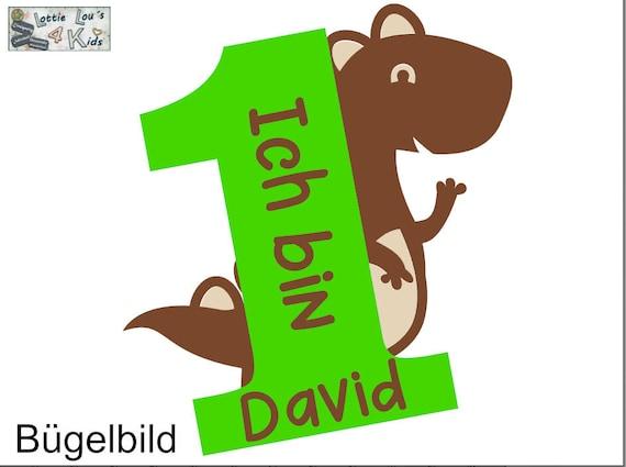 Bügelbild Dinosaurier Dino Zahl Geburtstag  T-RexIron On