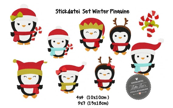 Embroidery File Christmas Penguin Christmas