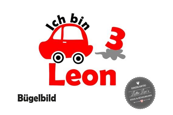 Bügelbild Geburtstag Auto mit Name &  ZahlIron On