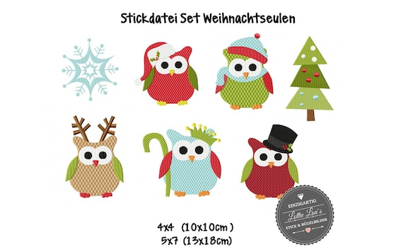 Embroidery File Christmas owls Owls
