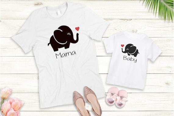 Bügelbild oder T-Shirt  Mama Mini Baby Elefant Set auch mit Wunschnamen Statement Shirt