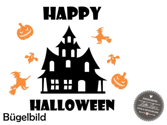 Ironing DIY Halloween Spooky house house Witch Spirit Jack-O-lantern pumpkin Iron on appliqué glitter flock effect Flex