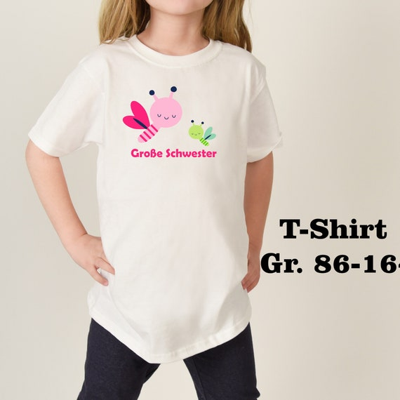 T-shirt Big Little sister birthday Dragonfly Flex Glitter flock effect brother sibling Bee Firefly Big sister brother sister