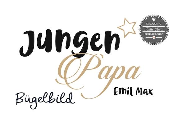 Bügelbild Jungen Papa Boys Dad  Plott mit Wunschnamen Statement Shirt