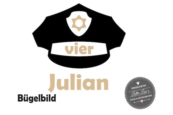 Bügelbild Geburtstag Polizei Mütze