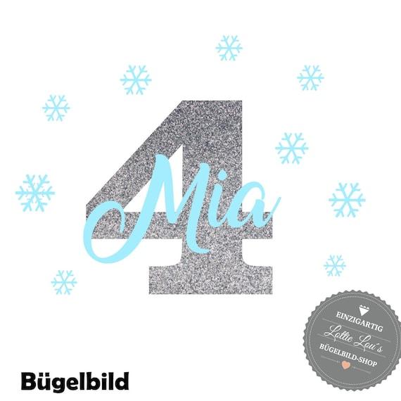 Bügelbild Eiskönigin Schneeflocke zum Geburtstag mit Name und Zahl