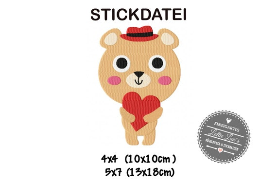 Stick File Bear Love heart 4x4 5x7