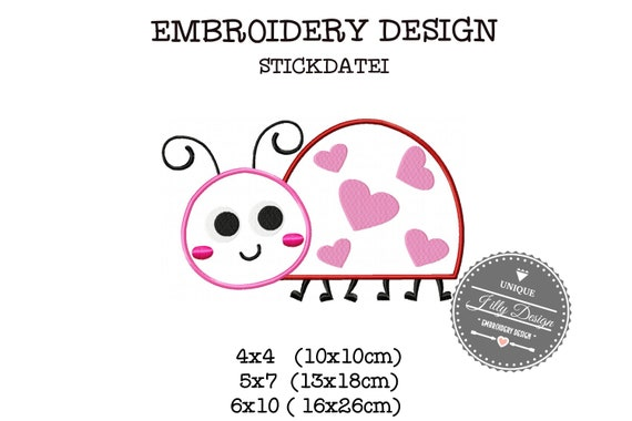 Embroidery file application Marienchenkäfer beetle Heart