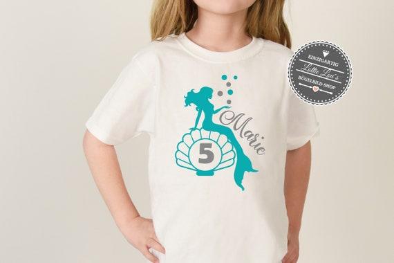 Personalisiertes Bügelbild / T-Shirt Geburtstag Birthday Meerjungfrau Mermaid mit Zahl Name Aufbügler Glitzer Flock Effekt Flex