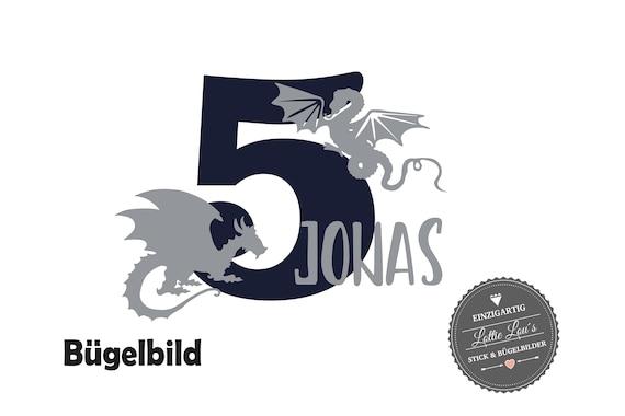 Bügelbild Geburtstag Drache Dragon mit Name und Zahl