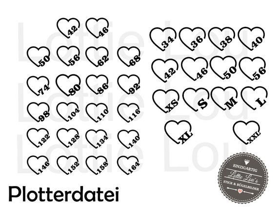 Plotter size label Label Heart Set