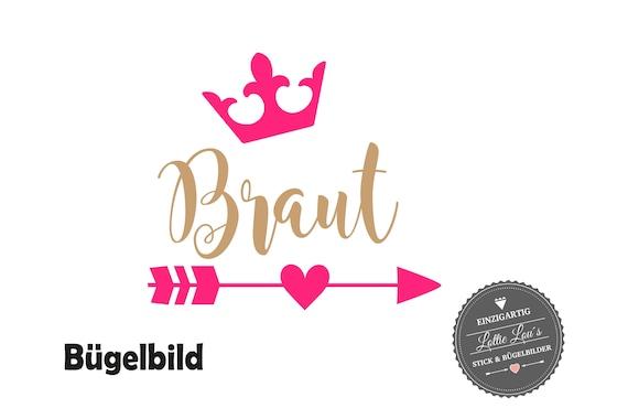 Iron On Bügelbild  Braut JGA auch in Glitzer XXL