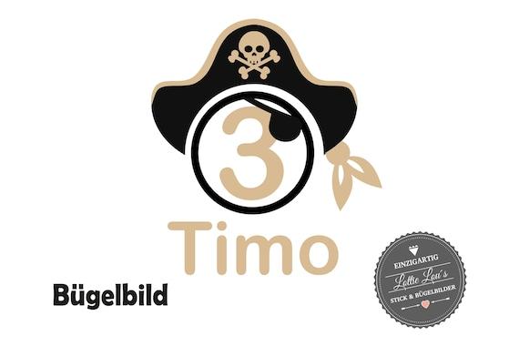 Bügelbild Pirat zum Geburtstag mit Wunschzahl
